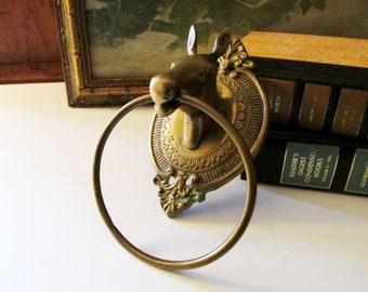Vintage Brass Towel Ring, Horse Head Towel Ring, Preppy Decor, Towel Ring, Closet Decor, Powder Room Decor