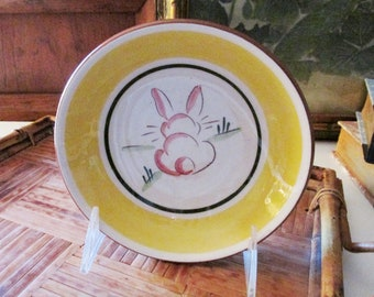 Vintage Stangl Bunny Bowl, Kiddie Ware, Barnyard Friend, Kids Fruit Bowl, Easter Hand Painted Pottery 1960's Rare