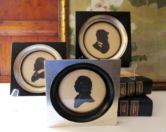 Vintage Set of Three Silhouettes of Novelists, William Shakespeare, Charles Dickens, Gallery Wall Decor, English Writers