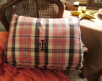 Ralph Lauren Plaid Wedge Back Support Pillow, Preppy Back Pillow, Pink and Blue, Reading Pillow, Bolster Back Support, Dorm Room Decor