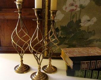 Vintage Set of Three Brass Candlesticks, Open Swirl or Spiral Candleholders, Mantel Decor, Graduated Candlesticks