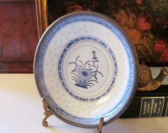 Vintage Chinoiserie Canton Dish, Pewter Tone Encased Bowl, Blue and White Bowl, Oriental Dish, Coffee Table Decor