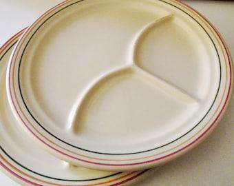 Iroquois China Retro Grill Plates, Syracuse China, Stripe Rim Plates, Restaurant Ware, Diner Plates, Bistro Decor