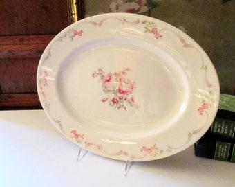 Vintage Castleton China Platter, Bel Rose, USA, Romantic Decor, Cottage Chic, Vanity Tray, Porcelain Shabby Cottage Tray