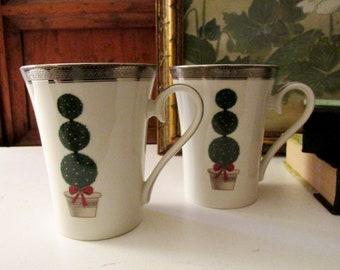 Vintage Mikasa Pair of Mugs, Topiary Pattern, Platinum Band, Elegant Fina China Mugs, Christmas Mugs, Festive Tree
