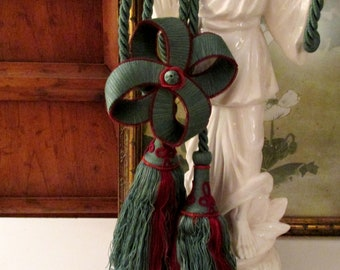Vintage Houlès, Paris Double Tassel Tieback With Bow, Toinette Dark Teal and Wine Tie Back, French Chateau Decor