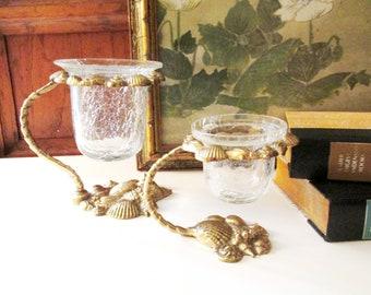 Two Vintage Brass Beach Coastal Shell Vase, Glass Flower Vase, Guest Room Decor, Hollywood Regency, Votive Candle Holders, Palm Beach Decor
