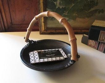 Vintage McNeely Bamboo Handled Dish, Paddy McNeely Black Art Pottery Dish, Boho Decor, Designer Signed Ceramic Dish