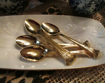 Six Towle Gold Plated Spoons, Supreme Cutlery, Hollywood Regency, Towle Aristocrat Silverware, Gold Teaspoons