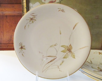 Six Vintage Bavaria Edelstein Dinner Plate, German Porcelain, Aurora Pattern, Organic Leaf Dishes, Mid Century Dinnerware