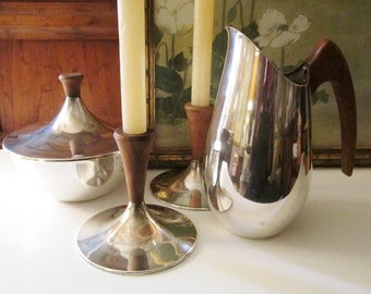 """1970's International Silver Company """"Gourmet"""" Centerpiece Collection, Candleholders, Candy Bowl, Pitcher, Mid Century Modern"""