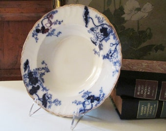 Furnivals Ltd Lotus England, Blue and White Floral Bowl with Gilded Trim, Antique English Ironstone Bowl, Flow Blue
