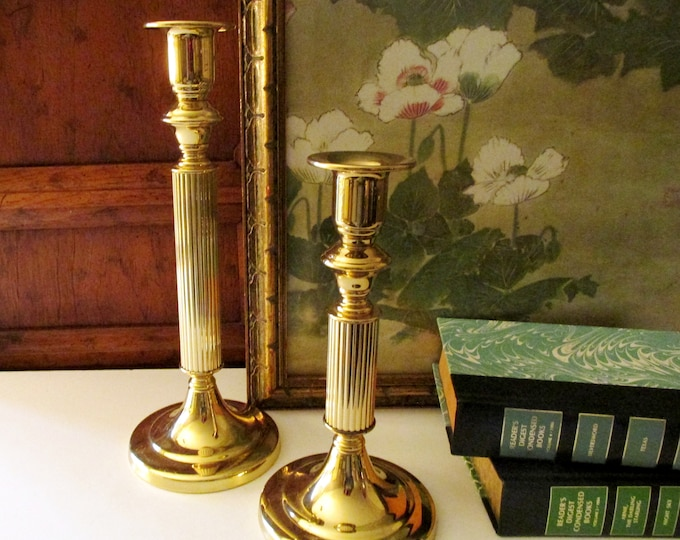 Featured listing image: Vintage Brass Candlesticks, Tall Column Candleholders, Copper Craft USA, Mantel Decor, Hollywood Regency, Library Decor, Williamsburg Decor