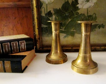 Vintage Brass Candlesticks, Traditional Decor, Pair of Brass Candleholders, Mantel Decor