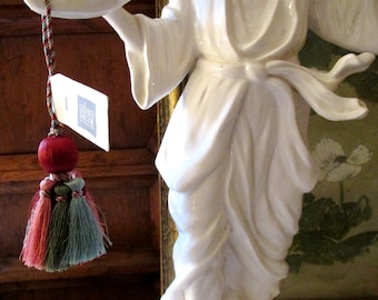 Vintage Houlès French Key Tassel, Paris Apartment, French Trim, Aurore, Nico Decor, Red, Coral and Green Tassel