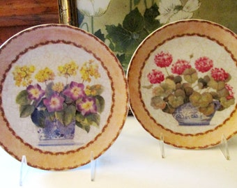 Chinoiserie Pair of Floral Plates, Hydrangea and Pansy in Cachepots, Romantic Wall Plates, Formalities by Baum Bros, Decorative Plates