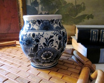 Vintage OUD Blue and White Vase, Chinoiserie Small Vase, Delft Holland Vase, Hand Painted Vase