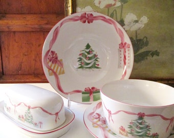 Vintage Sango Christmas Butter Dish, Serving Bowl, Gravy Boat, Pink and Green Home For Christmas China, Palm Beach Christmas