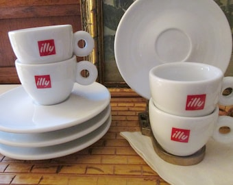illy Espresso Cups and Saucers, Italy Made, White and Red Logo Porcelain Coffee Cups, Demitasse Cups