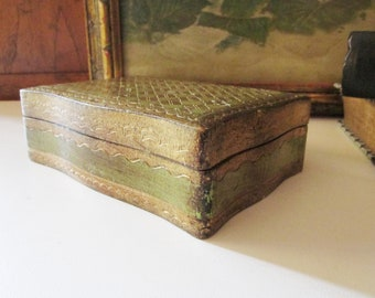 Vintage Florentine Box, Gilded Italian Wood Box, Hollywood Regency, Trinket Box, Florentia Box, Green and Gold Wood Box