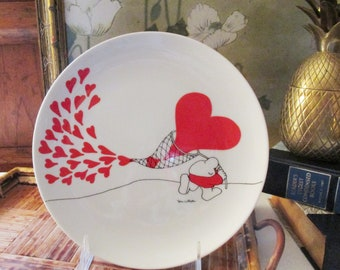 Vintage Tom Wilson Ziggy Valentine Plate, Here's To Love, Retro 1978 Heart Plate, Red and White, American Greetings