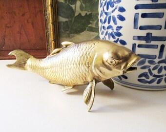 Vintage Brass Koi Fish Sculpture, Chinoiserie Brass Decor, Brass Fish Figurine, Mantel Decor, Hollywood Regency
