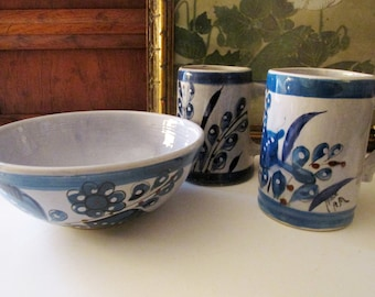 Three Mexican Blue Bird Pieces, Pottery Cups, Collection of Mexican Mug, Hand Painted Mugs, Blue Bird Bowl, Art Pottery Vessels