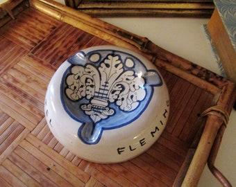 Italian Hotel Souvenir Ashtray, Pottery Ashtray, Fleur de Lis, Blue and White Trinket Dish, Hotel Fleming Rome