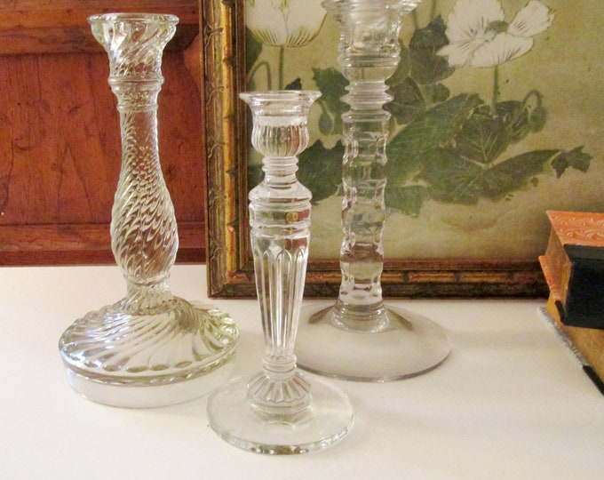 Featured listing image: Vintage Collection of Glass Candlesticks, Crystal Candleholders, Pressed Glass Candlestick, Mantel Decor, Eclectic Decor