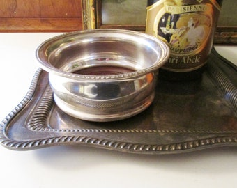 Vintage English Reed & Barton Champagne or Wine Bottle Coaster, Silver Plated Deep Bellied Coaster, Wedding Decor