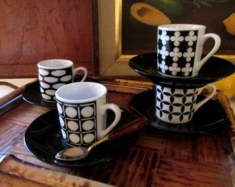 Four Museum Black and White Espresso Cup & Saucers Set, Museum of New Mexico, Museo Mundo,BIA Cordon Bleu Coffee Set, Alexander Girard