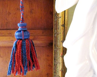 Houlès, Paris Vintage Key Tassel, Chenille Tassel, Blue and Red Tassel, Babouchka Tassel, French Chic