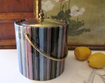Vintage Hollywood Regency Ice Bucket, Greek Key Design, Multi Striped Ice Bucket, Mad Men Decor, Retro Barware, 1970's Bar