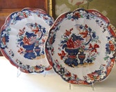 Antique Pair of Improved Stone China Plates, Cabinet Plates, Chinoiserie Dishes, British Imari Style, Transferware Decorative Dishes