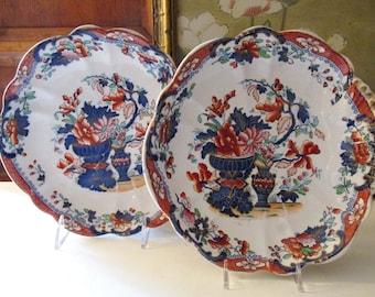Antique Pair of Improved Stone China Plates, Cabinet Plates, Chinoiserie Dishes, British Imari Style, Transferware Decorative Dishes