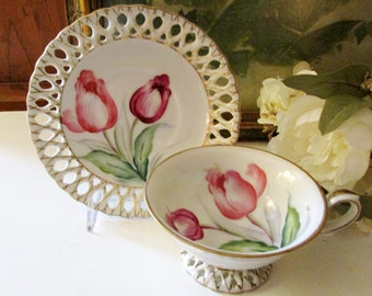 Vintage Hand Painted Tulip Teacup with Lacy Pierce Work Design, Japanese Porcelain, Reticulated Teacup Set