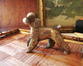 Vintage Brass Poodle, Poodle Figurine, Cottage Chic, Dog Lover, Brass Paperweight, Home Office Decor, Shelf Decor