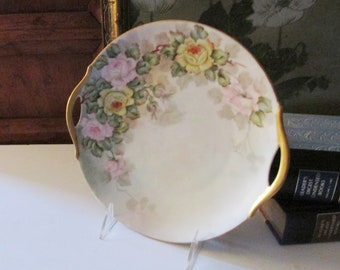 Vintage Hand-Painted Plate, Romantic Handled Tray, 1930's Hand Painted Plate, Signed Artist