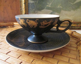 Vintage Zodiac Teacup and Saucer, Horoscope, Tea Leaf Reading Cup, 1960's Zodiac, Black and Gold Hollywood Regency