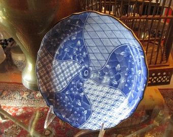 Vintage Blue Imari Round Dish, Chinoiserie Blue Decorative Plate, Blue and White Valet, Palm Beach Decor