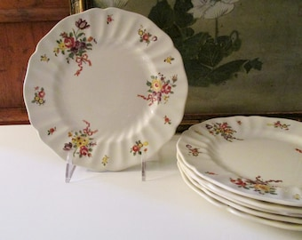 Six Royal Doulton Luncheon or Dessert Plates, Old Leeds Sprays, Romantic Decor, Floral Dinnerware, Cottage Chic, Mother's Day Dishes
