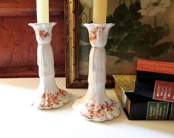 Vintage Ironstone Candlesticks, Autumn Decor, Thanksgiving Table Decor, Organic Floral Porcelain Candleholders