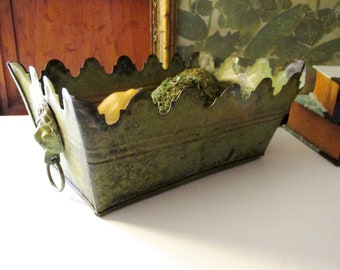 Green Monteith Style Toleware Cachepot, Tole Painted Planter, Coffee Table Decor, Hollywood Regency, Verdigris Finish
