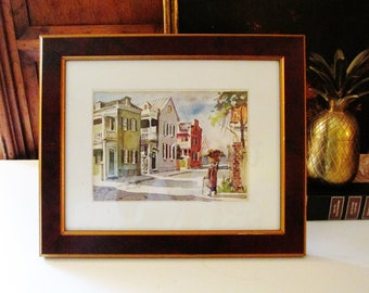 Vintage Signed Virginia Fouche Bolton Lithograph, Piazzas in Charleston, SC, Watercolor Print, 1977