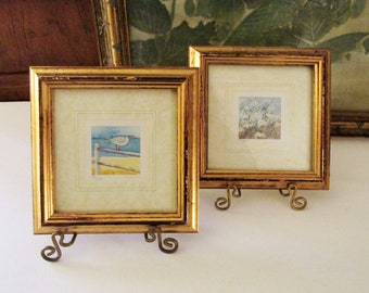 Vintage Set of Two England Prints, Mini Prints, Kathleen Freeth Watercolours, Signed and Numbered Small Framed Prints, Wall Gallery Decor