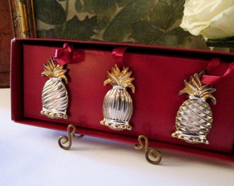 Lenox Williamsburg Pineapple Ornaments, Set of Three Silver Plated Ornaments, Christmas Ornaments