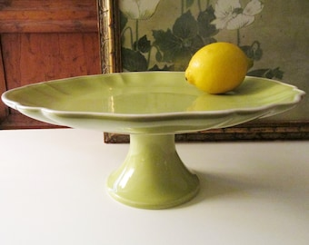 Vintage Williams-Sonoma Cake Stand, Pedestal Tray, Apple Green Dessert Stand, Tea Party Decor, Cupcake Stand, Easter Decor