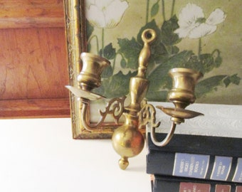 Vintage Two Arm Brass Candlestick Sconce, Traditional Decor, Wall Gallery Decor, Brass Marked HB