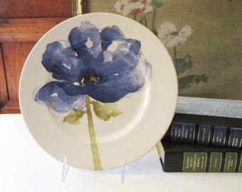 Vintage Royal Stafford Blue Poppies Dinner Plate, Made in England, Blue and White Plate, Palm Beach Decor