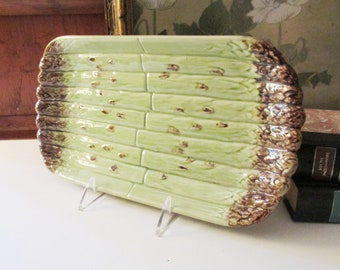 Vintage Bordallo Pinheiro Asparagus Dish, Hand Painted Asparagus Tray, Majolica Style, Made in Portugal
